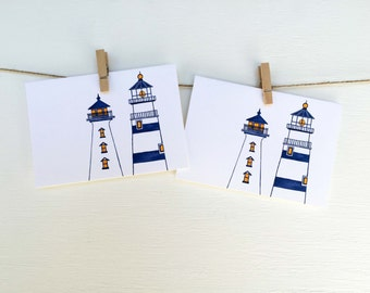 "Lighthouse Art - New England - Notecards - Set of Eight (3 1/2"" X 5"")"