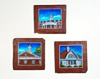 Trio of Paintings Fine Art Buildings on Salvaged Red Slate