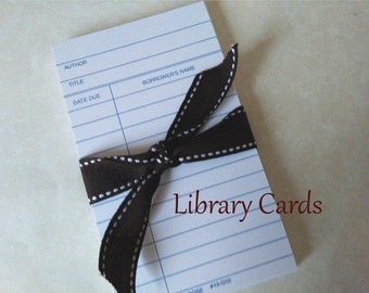 50 Library  Cards, Library Cards, Blank Library Cards, White  Cards  Wedding Favors  Bridal Shower Gift packaging Birthday Party Favors