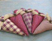 Primitive Hearts - Bowl Fillers - Set of 5 - Wedding - Anniversary - Valentine's Day- Grungy Fabrics - Valentine Country Decor - Maroon