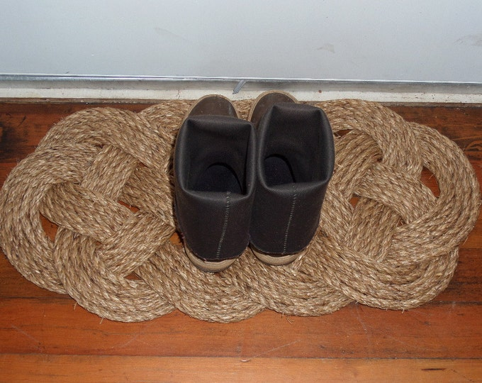 "30"" x 14"" Outdoor Rope Rug Door Mat Doormat Nautical Beach Decor Natural Rope Brown Manila Rope Tightly Woven"
