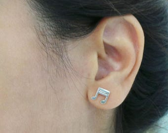 Music Note Stud Earring - Quaver Musical Note Jewelry - for Music Lovers, Teachers, Musician