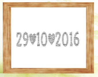Date personalised gift, anniversary, wedding, date to remember word art print
