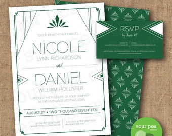 Wedding Invitation - DIY Custom Printable - Art Deco Emerald Triangles