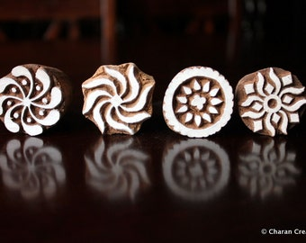 Indian wood stamps,Textile Stamps, Pottery Stamps, Soap Stamps- Set of 4