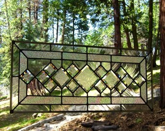 Beveled Diamonds Stained Glass Window-Can be displayed horizontally or vertically