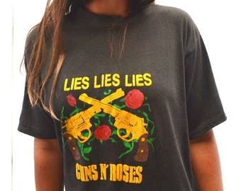 15% OFF - 7 Day Sale Vintage Guns N Roses Tshirt 1980s Black Yellow Raised Graphics 1988 Lies Album Tee Medium