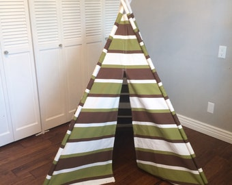 Green, White, Brown Striped, Stripe, Play Teepee, Tee Pee, Tent (poles included)