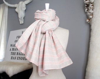 Pink & Gray Tartan Scarf - Pink Gray And White Plaid Scarf - Extra Long Urban Scarf - Pink And Gray Ballerina Scarf - Pink And Gray Scarf