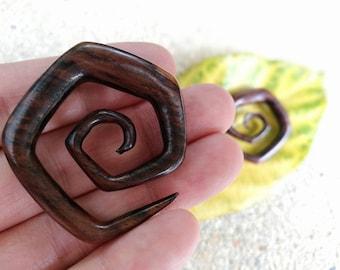00g Ear Stretcher, Brown Spiral Gauges Wood Pentagon Earrings, Spiral Ear Expander, 10mm or 00g Gauge