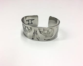 "Wisps Cuff - Etched Stainless Steel - 1"" wide"