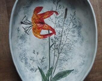 Vintage 87' Salt Marsh Pottery Serving Bowl  Wall Decor Turk's Cap Lily