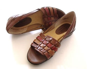 Basket Weave Open Toe Leather Summer Shoes  ~ Brown, Tan & Brick Leather Sandals ~ Size 5