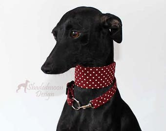 Italian Greyhound - Spotz n Dotz Collection - Burgundy & Taupe Martingale Style with optional coordinating ID / Tag Collar and Leash