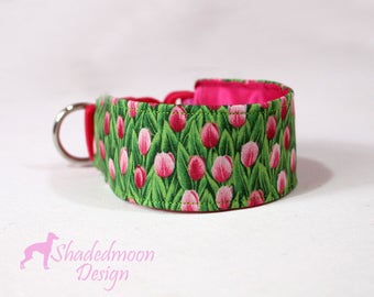 Favourite Flowers Collection - Pink Tulip Print on Fresh Green Martingale, Wide Semi Slip or Wide Clip Italian Greyhound Collar