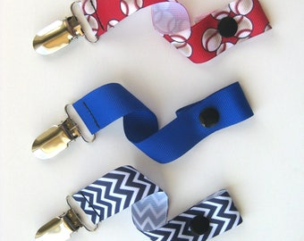 Baby Boy PACIFIER CLIP- Soother String- Boy Dummy Clip- Boy Paci Clip- Baseball Pacifier Clip- Baby Boy Shower Gift- Toy Clip- Baby Gift Set