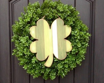 LAST ONE-St Patricks Day Wreath Grapevine Boxwood Door Wreath-Two Wreaths In One-Spring/Summer/Fall-Use Year Round-Removable Wooden Sign