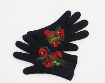 Felted Gloves Merino wool Black Red Floral