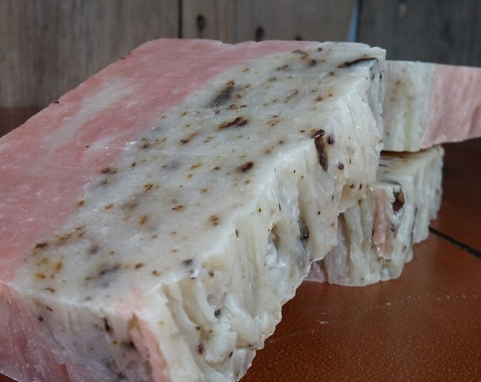 Blushing Rosemary Soap -- Rosemary Geranium All Natural Soap, Handmade Soap, Barely Scented Soap, Hot Process Soap, Vegan Soap