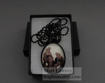 Unusual Jewelry, Pendant Necklace, Pigeon Sisters, Oddities, Twin Sisters, Anthropomorphic, Strange Jewelry