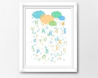 Alphabet Clouds Wall Art Nursery Printable, Kawaii Art, Instant Download Illustration by Sleepy Cloud Studios