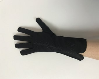 Black Nylon Embroidered Gloves / 50's / winter accessories mittens pattern print