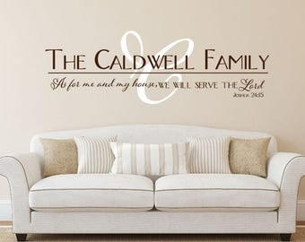 Family wall decal Joshua 24 As for me and my house Monogram family name vinyl wall decal sticker