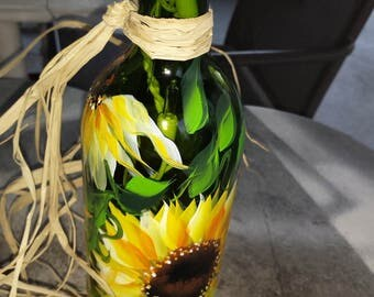 Wine bottle lamp, Sunflower wine bottle lamp, night light, Blue glass recycled wine bottle lamp