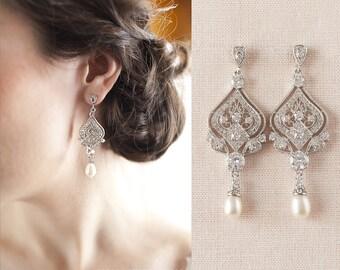 Bridal Jewelry SET Crystal Wedding Earrings Swarovski Crystal Wedding Bracelet Bridal jewelry, Danella Bridal Earrings