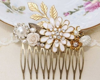 SALE Eternal Love - Vintage Assemblage Hair Comb, Repurposed Jewelry, Upcycled, Bridal, Shabby Chic, Rhinestone and Pearl, OOAK Vintage Coll