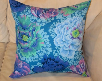 Large Flowers Pillow Cover 18 x 18 inches, Large Floral Decorative Pillows, Blue pillow cover for 18 x 18 pillow, Handmade