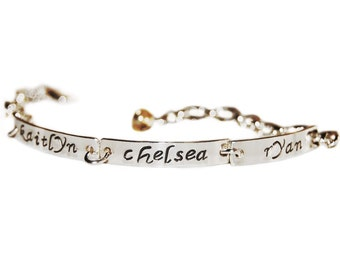 Four Name mom or grandmother bracelet - silver message jewelry, personalized bar bracelet, four word bracelet, secret message bracelet