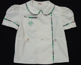 So Cute Vintage Toddler Blouse Quality, Monogram, Pearl Buttons,  Perfect