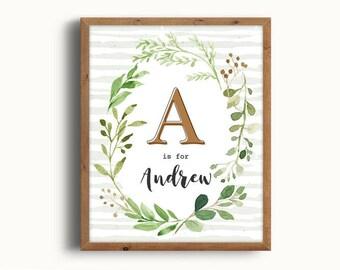 Nursery Forest Decor, Andrew, Nursery Forest Print, Baby Name, Wall Art, Art Prints, Rustic Nursery, Printable, New Baby Gift, Digital Print