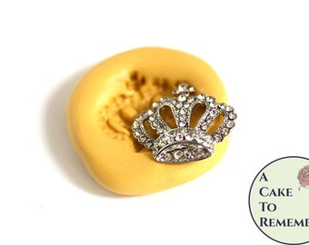 Silicone jeweled crown mold, fondant or gumpaste mold. Silicone mold for polymer clay, resin, UTEE, and isomalt.  M5099