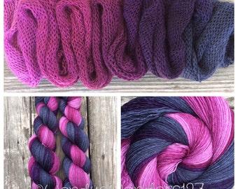 Hand Dyed Yarn, Gradient Yarn, Fingering Weight Yarn, Plum Flower