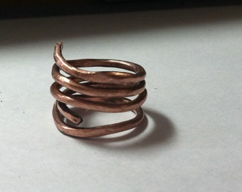Handmade twisted  copper ring, OOAK