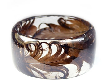 Curly Feather Jewelry- Feather Bracelet- black Bracelet -Jewelry with Real Flowers- Brown Beacelet-  Flower Jewelry - Resin Jewelry