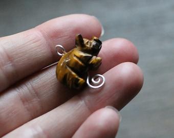 Tiger Eye Pig Sterling Silver Figurine Pendant #7473