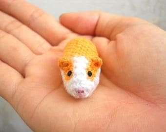 Miniature Guinea Pig - Tiny Crochet Dollhouse Tiny Stuffed Animal - Made To Order