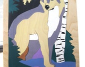 Large Handmade Wooden Wolf Puzzle