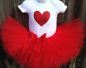 Valentine's Day Tutu Set | Red Glitter Heart Tutu Set with Red Ruffle Bow | Newborn-3T | First Valentine's Day