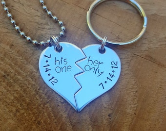 Personalized His One, Her Only Heart Dated Key Chain and/or Necklace Customized, Hand Stamped