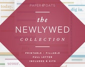 The Newlywed Collection – 8 printable editable PDF planners – wedding planner, budget, to do lists, calendars, meal, recipe, moving, travel