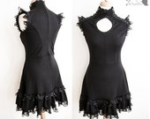 Dress black, Victorian inspired, romantic goth, lace, gothic, Somnia Romantica,size small - medium see item details for measurements
