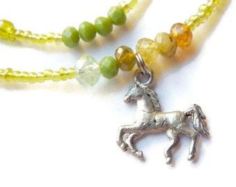 Green Garnet Waist Beads, Horse Waist Beads, Garnet Belly Chain, Freedom Waist Chain, Garnet Belly Beads,