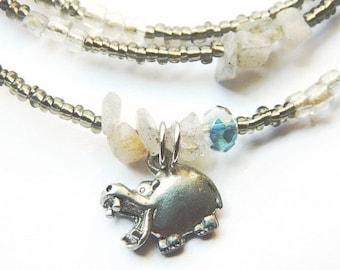 Waist Beads, Ta-Urt Labradorite  Waistbeads, Ta-Urt Waist Beads, Hippo Goddess Belly Chain,  Grey Waistbeads