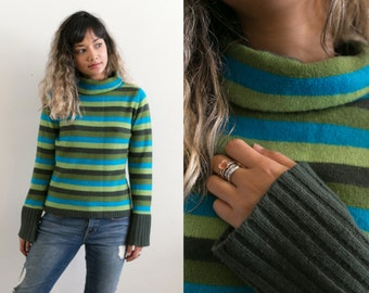 Striped Turtleneck Sweater / Striped Wool Sweater / Multicolor Knit Sweater / Green Blue Long Sleeve Thick Pullover / 90s Retro Jumper
