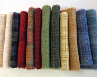 Colorful Textures, Wool Fabric for Rug Hooking and Applique, 12) Fat 1/16ths, W279, Spring Colors, Summer Colors