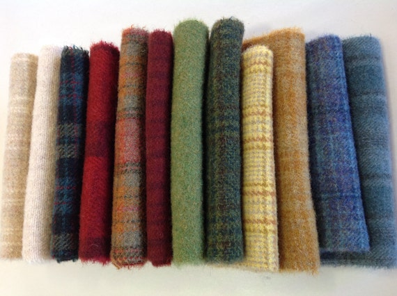 Colorful Textures, Wool Fabric for Rug Hooking and Applique, 12) Fat 1/16ths, W279, Summer Colors, LAST ONE!